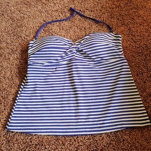 Mossimo blue &white tankini swim halter top